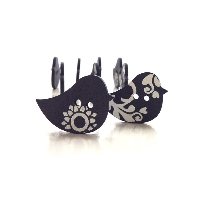 Blue and White Bird Buttons  / Wood Embellishments Scandi image 0