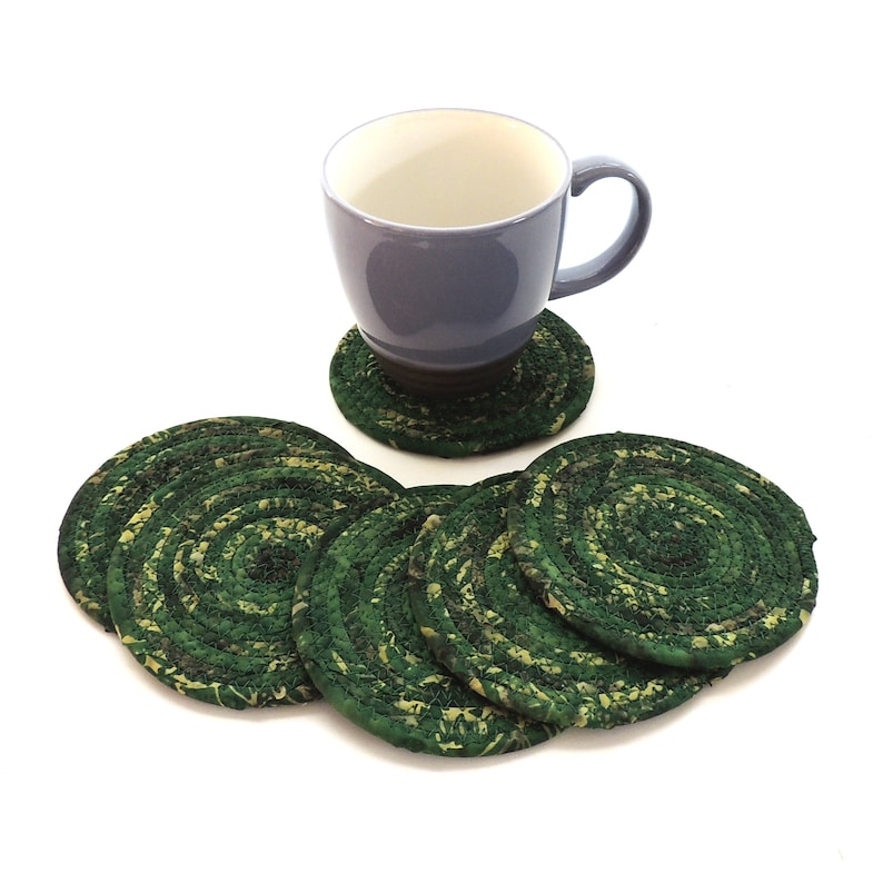 Green Camo Coasters / Set of SIX / Coiled Fabric Home Decor / image 0