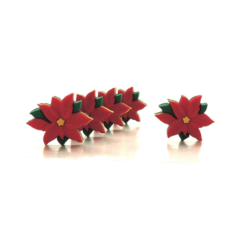 Red Poinsettia Buttons by Dress It Up // Novelty Christmas image 0