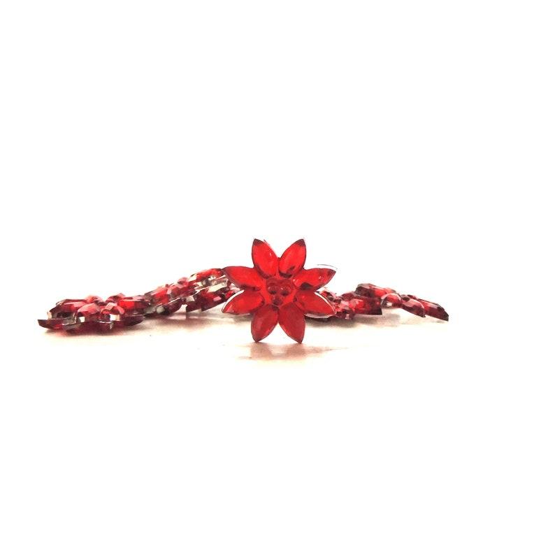 Red Rhinestone Poinsettia Embellishments / Novelty Winter image 0
