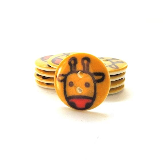 YELLOW GIRAFFE Baby Children Safari Zoo Animal Novelty Dress It Up Craft Buttons