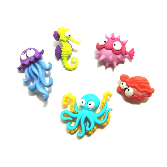 DRESS IT UP BUTTONS ~ CREATURES OF THE SEA ~ SEAHORSE ~ OCTOPUS ~ JELLY FISH