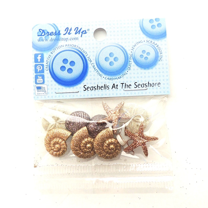 STARFISH WISHES Craft Buttons 1ST CLASS POST Holiday Seashell Beach Ocean Baby