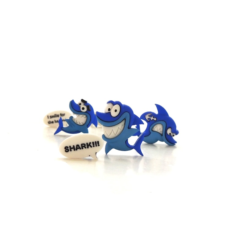 Shark Buttons by Dress It Up / Novelty Sewing Baby Kids Crafts image 0