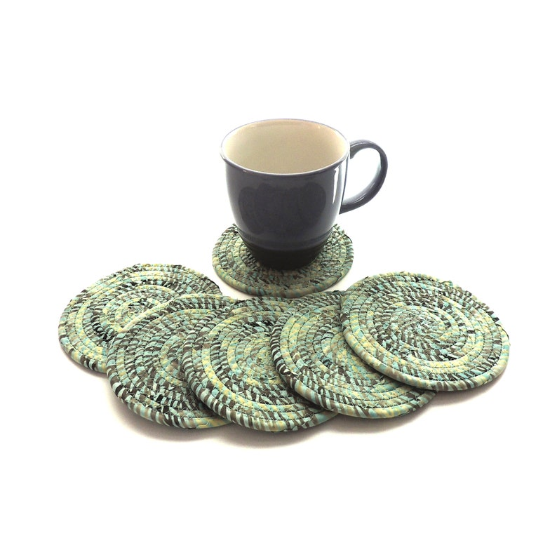 Mint and Gray Coasters / Set of SIX / Coiled Fabric Home Decor image 0