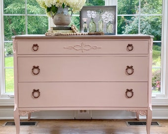 Antique pink three  drawer refinished dresser, vintage bedroom, nursery, changing table boho style.  FREE SHIPPING