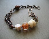 OOAK Assembled Cluster of Lamp Work Glass Bead Faceted Bead Agate Bead Tagua Beads Copper Bead Copper Chain Adjustable Bracelet