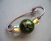 Scarf Pin, Green and Gold Copper Shawl Pin, Sweater Pin, Hat Pin, Scarf Pin, Closure, Brooch for Your Knits and Weaves