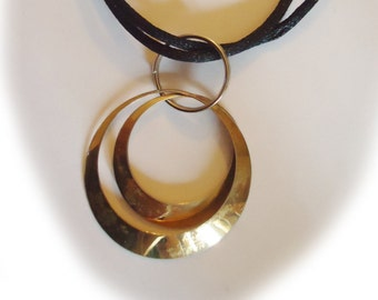 Clearance: Necklace with two silver Eternity circles, black silk cord.