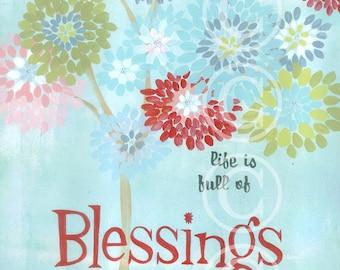 Life is Full of Blessings - retro sign art print