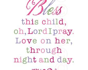 Girl's Art Print Prayer - Bless This Child - Pink Script