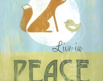 Live in Peace - retro sign art print