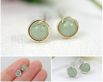 5mm tiny light jade green post earrings 925 sterling silver or 14k gold filled wire wrapped earrings light green adventurine small mini