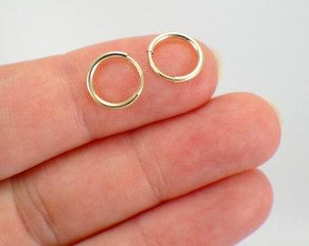 """9mm tiny endless hoop earrings 14k yellow or rose gold filled .35 inch """" hollow tube hoop earrings small hoops mini hoop second piercing 1mm"""