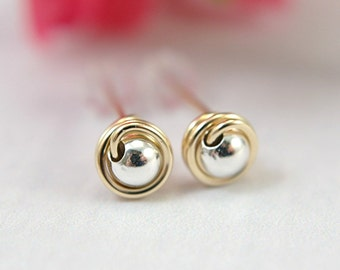 5mm tiny 14k gold filled and 925 sterling silver post earrings wire wrapped mini stud earrings small mixed metal earrings second piercings