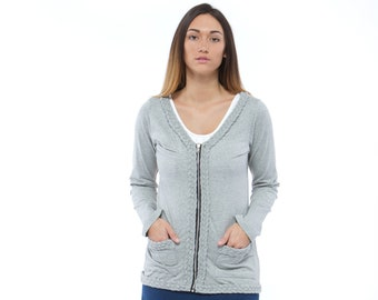 Holiday Sale // Gray Knit Braided Cardigan
