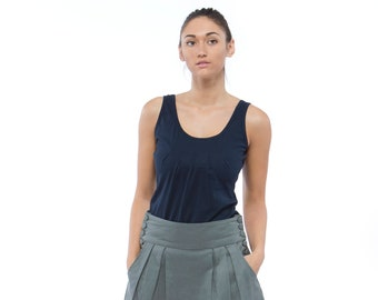 Holiday Sale // Navy Pleated Cotton Tank