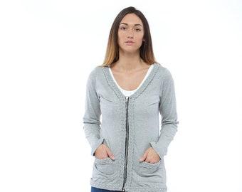 Holiday Sale // Grey Knit Braided Cardigan