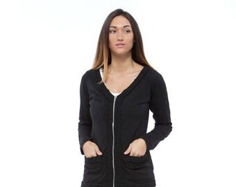 Holiday Sale // Black Knit Braided Cardigan