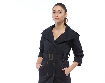 Holiday Sale // Cotton Black Trench Coat