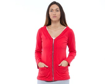 Holiday Sale // Ginger Red Knit Braided Cardigan