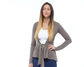 Holiday Sale // Grey Knit Wrap Cardigan