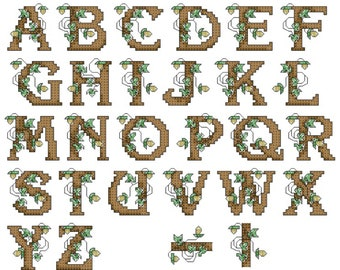 NEW!!! Rustic Alphabet Cross Stitch Pattern Digital Download