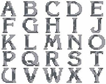 Sterling Silver Font Cross Stitch Pattern - Digital Download