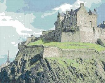 Edinburgh Castle Counted Cross Stitch Pattern - Digital Download