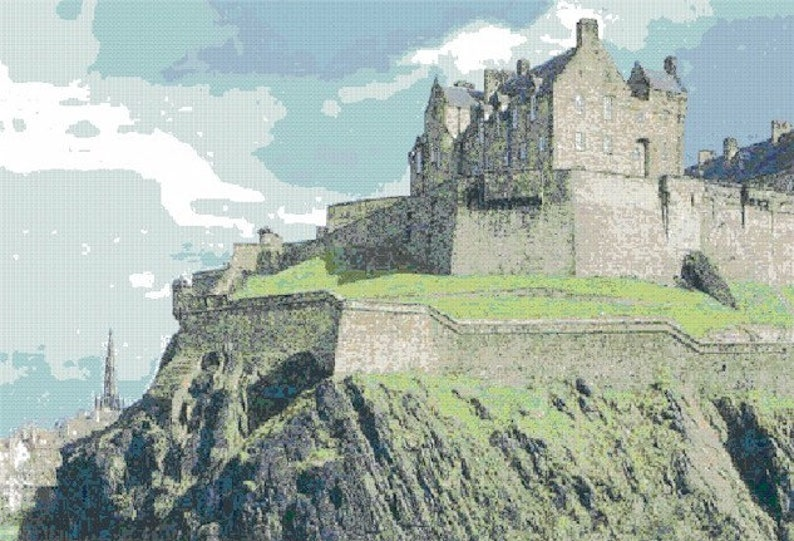 Edinburgh Castle Counted Cross Stitch Pattern  Digital image 0