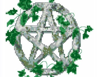 Stone and Ivy Pentacle Cross Stitch Pattern - Digital Download