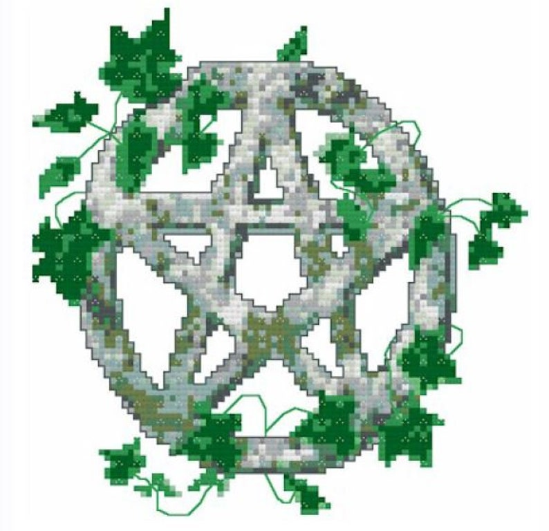 Stone and Ivy Pentacle Cross Stitch Pattern  Digital Download image 0