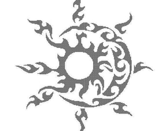Tribal Sun and Moon Counted Cross Stitch - Digital Download
