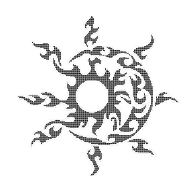 NEW Tribal Sun and Moon Counted Cross Stitch  Digital image 0