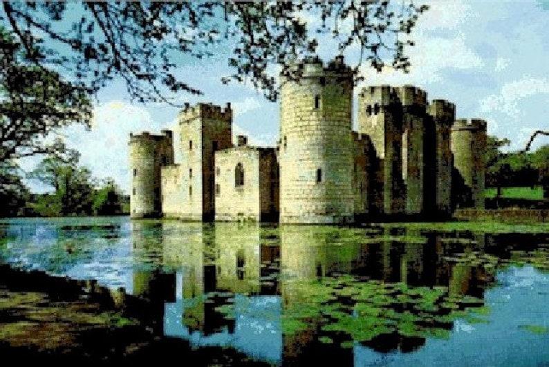Bodiam Castle Counted Cross Stitch Pattern  Digital Download image 0