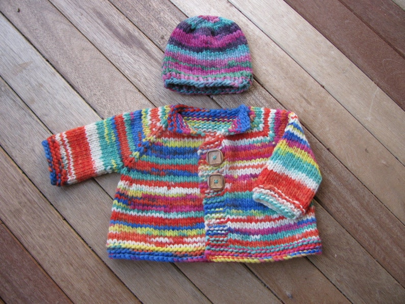Knitting Pattern per grosso Top-Down giacca bambino cappello  142d6fe7eb7f