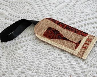 Single Luggage Tag - Burlap and Wine Glasses