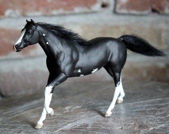 Astrea - custom black sabino pinto thoroughbred filly with mohair mane/tail from Breyer Paddock Pals/Little Bits TB customized CM art horse