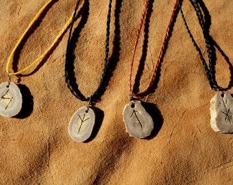 Deer antler necklace - real custom carved rune, bindrune or ogam deer antler pendant on hand-braided adjustable cord