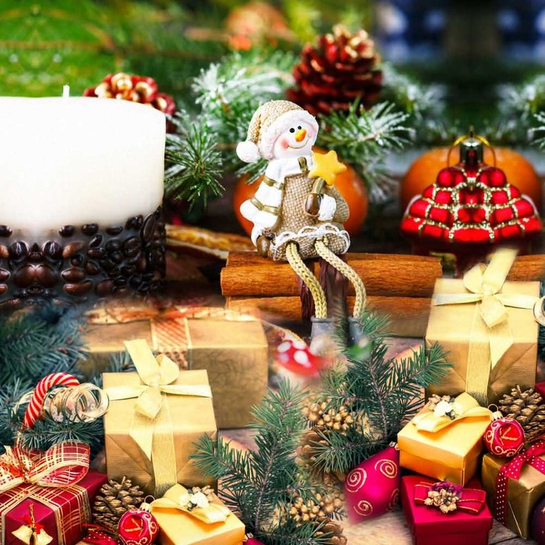 Present Plant Candle Cartoon Character Photography Computer Printed Background Christmas Theme Digital Print Backdrops HXB-626