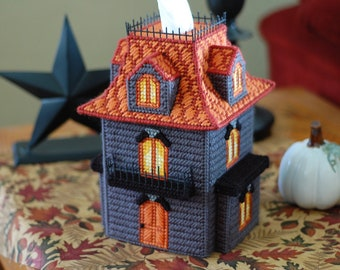 PATTERN: Haunted House Tissue Box Cover in Plastic Canvas