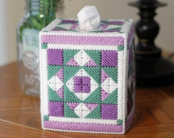 PATTERN: Quilted Tissue Box Cover #1 in Plastic Canvas