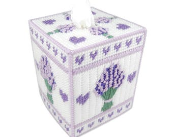 PATTERN: Lavender Tissue Box Cover in Plastic Canvas