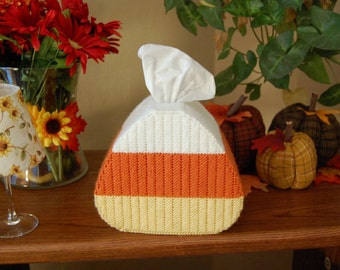 PATTERN: Candy Corn Tissue Box Cover in Plastic Canvas