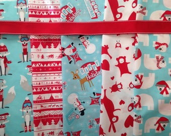 Made to Order - Design Your Own Set of Retro Modern Christmas Stockings in Light Aqua Blue with Red Ribbon