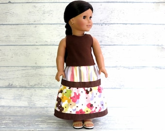 Tiered Summer Skirt and Tank Top Doll Outfit, 18 inch Doll Clothes M2M Gymboree