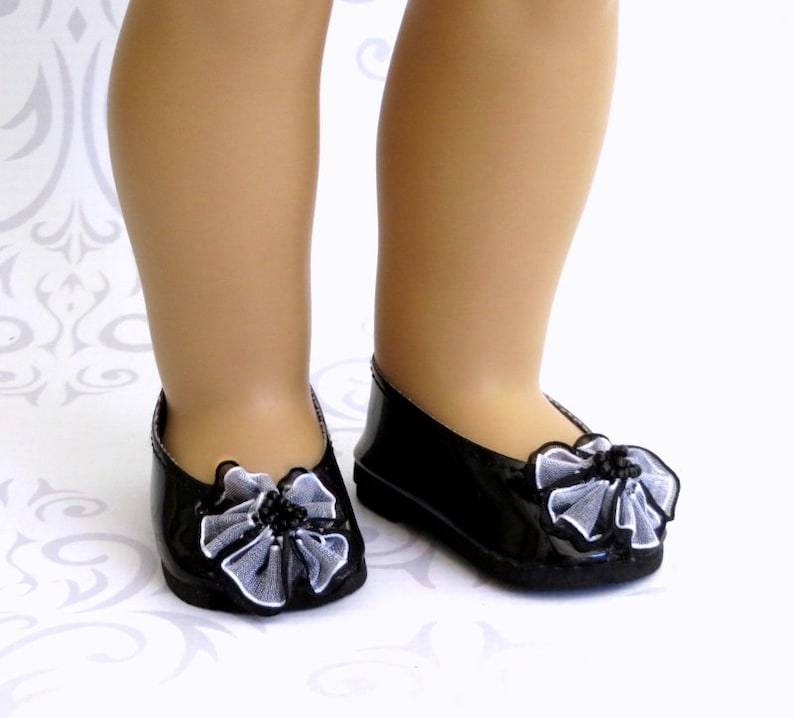 """BLACK w// POLKA DOTS Ballet Flats DOLL SHOES fits 18/"""" AMERICAN GIRL Doll Clothes"""