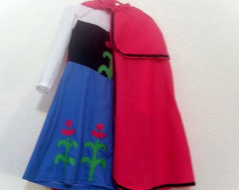 Princess Anna of Arendelle from Frozen Dress and Cape Child's Anna Dress