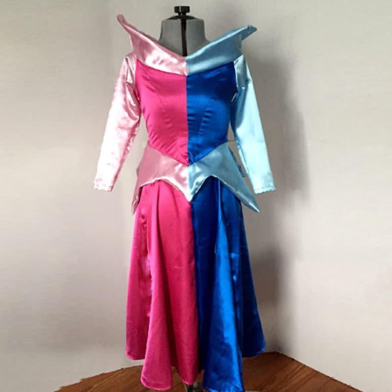 414a256969 Sleeping Beauty Aurora Dress Costume Half Pink Half Blue