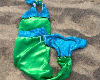 Mermaid costume in satin with blue sparkles